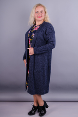 Міра. Довгий жіночий кардиган великих розмірів. Синій.