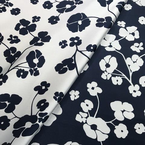 Ткань жаккард серо-синий с цветами 3009