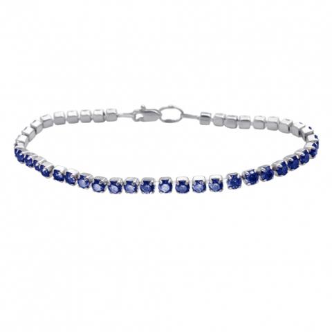 01Б251062-1- Теннисный браслет из серебра со вставками синий шпинель