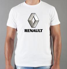 Футболка с принтом Рено (Renault) белая 004