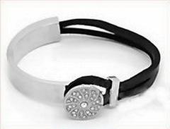 Основа для браслета из двух частей для шнура 8,5х2,5 мм, 7 см (цвет - античное серебро)