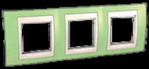 Рамка на 3 поста. Цвет Зеленое яблоко/бежевый. Schneider electric Unica Хамелеон. MGU6.006.563