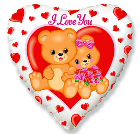 Шар Сердце ILY Медвежата с цветами