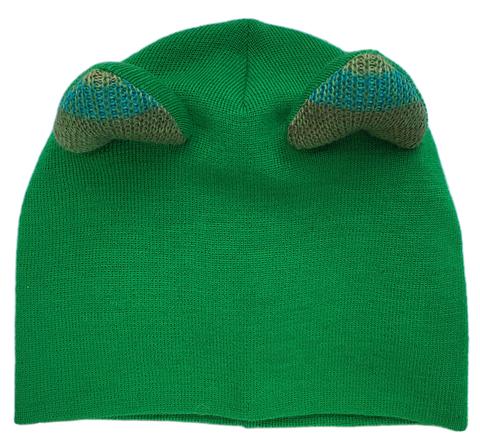 Женская зеленая зимняя шапочка с кошачьими ушками