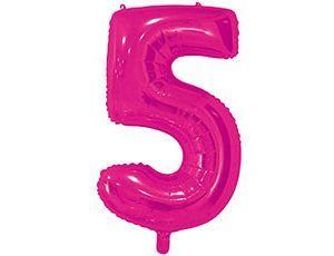 Цифра 5 розовая 65 см