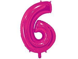 Цифра 6 розовая 65 см