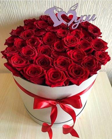 41 роза в шляпной коробке #19981