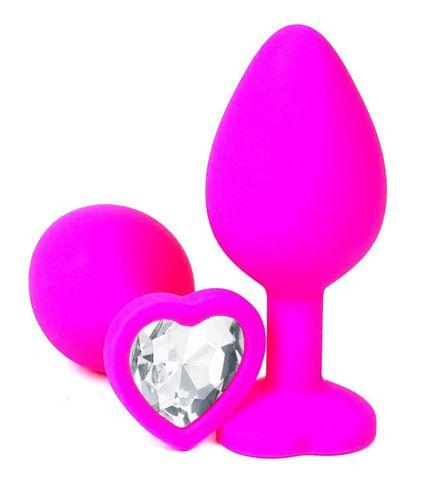 Розовая силиконовая пробка с прозрачным кристаллом-сердцем - 10,5 см.