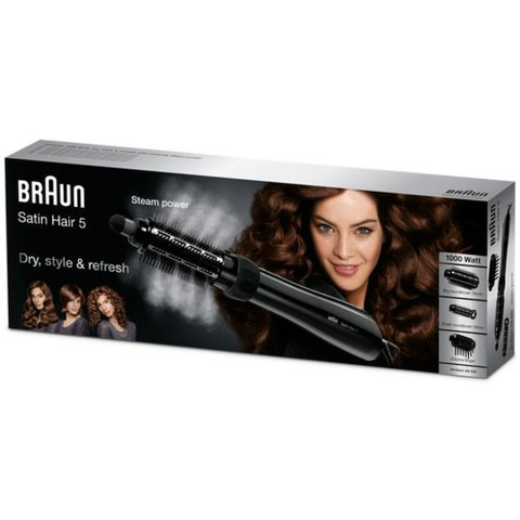 Фен-щетка Braun AS 530 с паром, 1000 Вт, черная