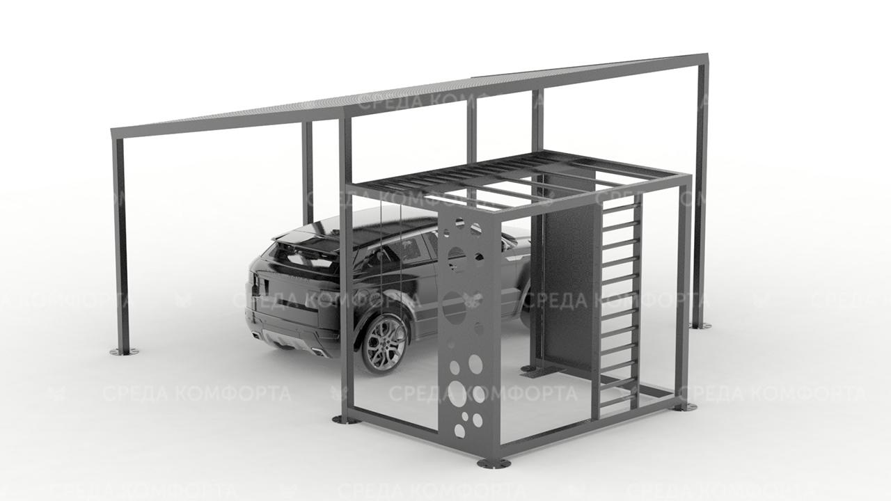 Навес для автомобиля с элементами детской площадки AVNVS0045