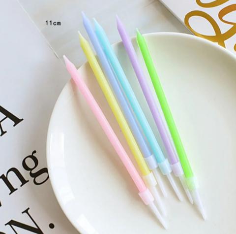 Свечи в торт Цветные 11 см,(набор 6 шт)