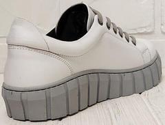 Белые кеды женские кроссовки на высокой подошве Guero G146 508 04 White Gray.