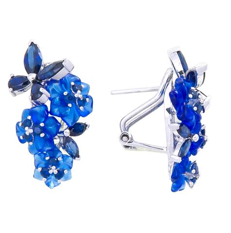 Серьги с цветами из синего кварца и сапфиром Арт.2232сс