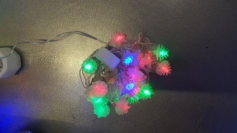 Светодиодная гирлянда нить домашняя мал шишки 4м 20LED мульти