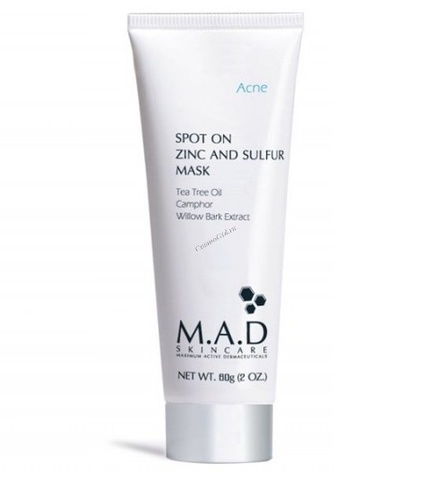 Маска подсушивающая с цинком и серой M.A.D Skincare Acne Spot On Zinc and Sulfur Mask, 60 мл