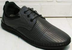 Мужские кожаные туфли мокасины с дырочками Ridge Z-430 75-80Gray.