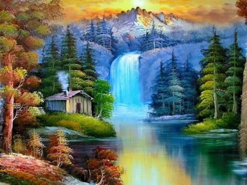 Алмазная Мозаика 40x50 Маленький домик у водопада (арт. SGJ70156)