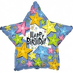 Фольгированный шар С Днем рождения (звезды) 18