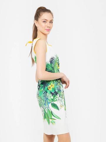 Фото повседневное платье с цветочным принтом и контрастной отделкой - Платье З102-553 (1)