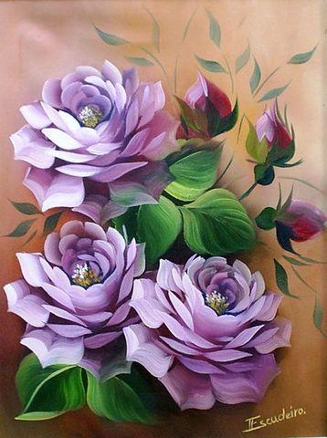Алмазная Мозаика 30x40 Три фиолетовых цветка