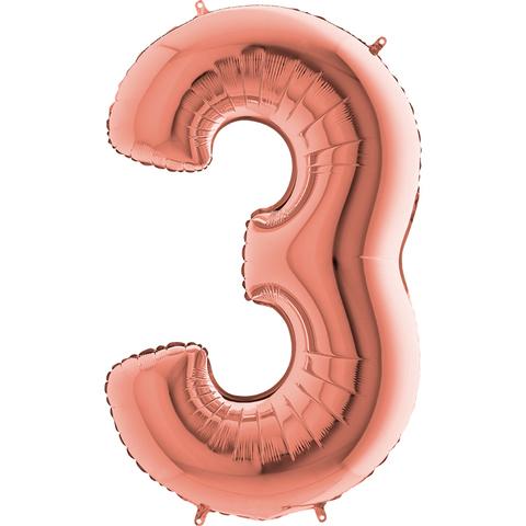 Цифра 3 с Гелием Розовое золото