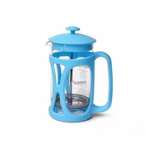Чайник заварочный OPERA 600мл с поршнем, цвет Лазурный (стеклянная колба)