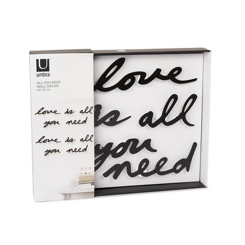 Надпись декоративная Love is all you need настенная черная