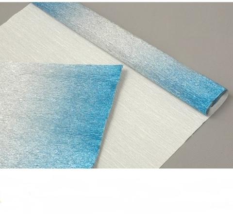 Гофрированная бумага металл с переходом цвет 802/2 серебряно-голубой, 180г, 50х250 см, Cartotecnica Rossi (Италия)