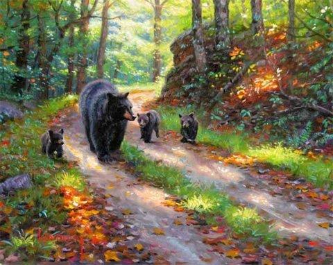 Картина раскраска по номерам 50x65 Медведица с медвежатами