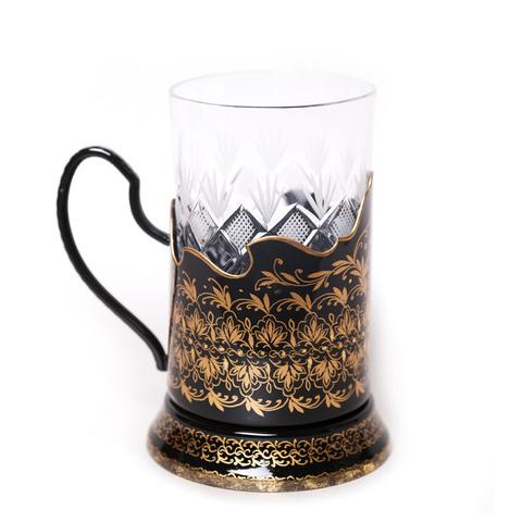 Подстаканник с жостовской росписью, черный, орнаментальный PODS25102018D027