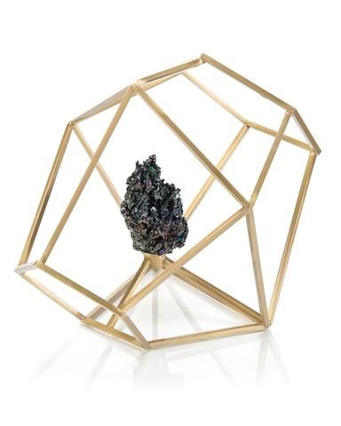Iridescent Black Carbite in Brass Polygon I