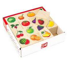 Набор кубиков Овощи-фрукты, 16 шт., Анданте