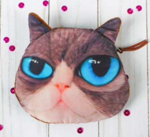 068-3125 Мягкий кошелёк «Хитрый котик», голубые глазки