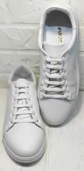 Женские кожаные кроссовки кеды перфорация Evromoda 141-1511 White Leather.
