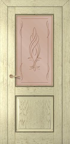 Дверь Румакс Гранд ДО, стекло сатинат бронза гравировка, цвет слоновая кость , остекленная