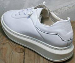 Городские кроссовки женские белые кожаные Rozen M-520 All White.