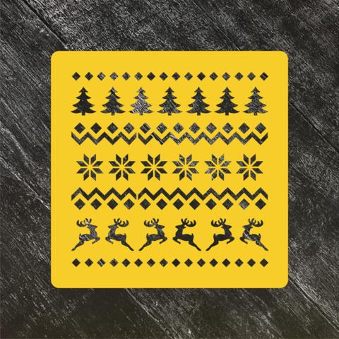 Трафарет новогодний №69 Норвежский узор Олени