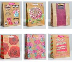 Пакет крафтовый «Цветочный», МИКС, MS 18 × 23 × 10 см, 1 шт.