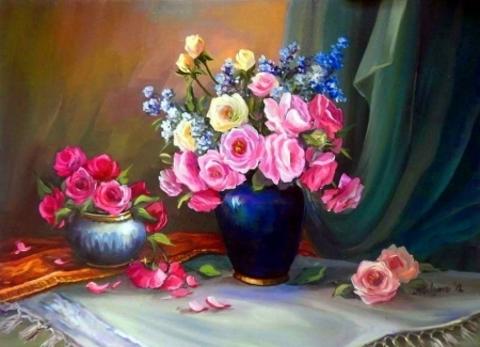 Картина раскраска по номерам 50x65 Два букета в вазах