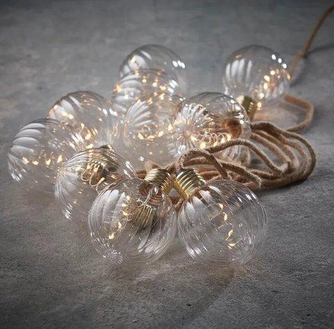 Гирлянда ретро на бечевке с 10 круглыми лампочками
