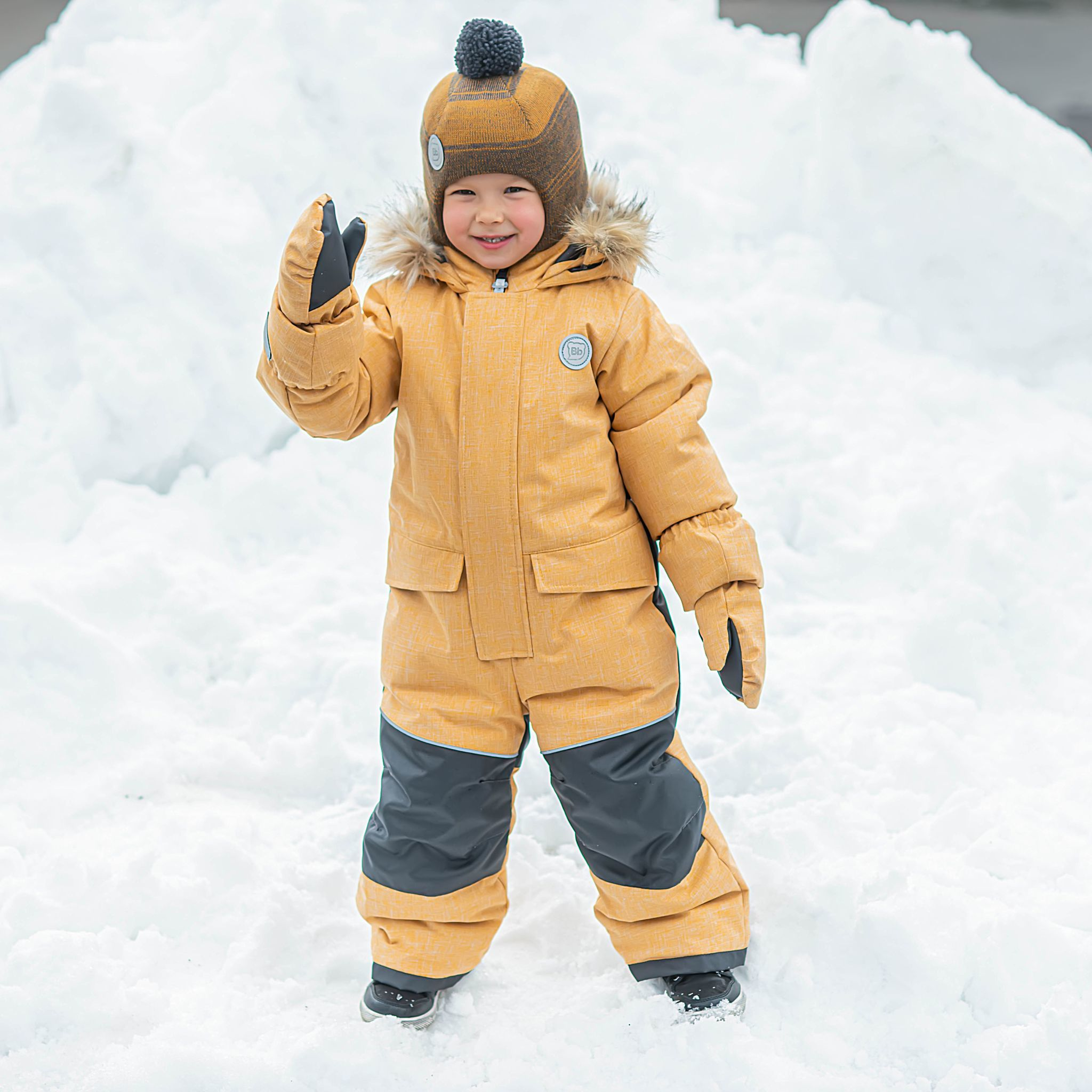 Winter membrane jumpsuit with enlargement system - Mustard