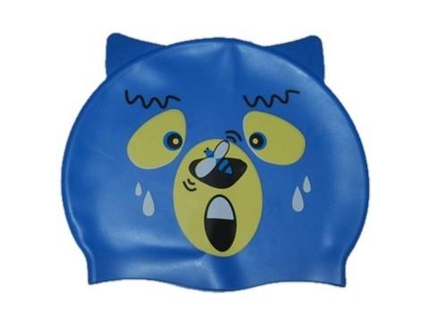 Шапочка для плавания  (медвежёнок) Оригинальный дизайн. Материал: силикон. Полиэтиленовая сумочка на молнии. :(KM):