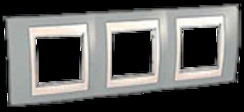 Рамка на 3 поста. Цвет Серый/Бежевый. Schneider electric Unica Хамелеон. MGU6.006.565