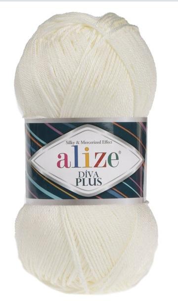 Пряжа Alize Diva Plus 01 молочный