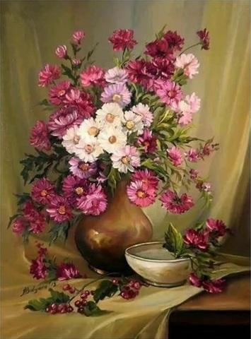 Картина раскраска по номерам 30x40 Цветы в глиняной вазе и миска