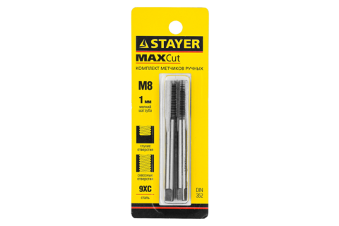 STAYER M8х1.0, комплект метчиков, 2 шт