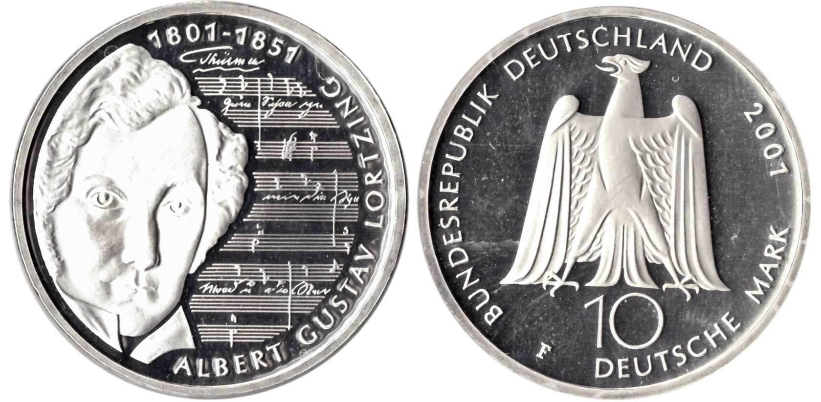 10 марок. 250 лет со дня рождения Альберта Лорцинга (F). Серебро. 2001 г. PROOF