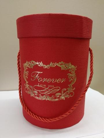 Коробка подарочная круглая, D14xH18,5см, цвет:красный
