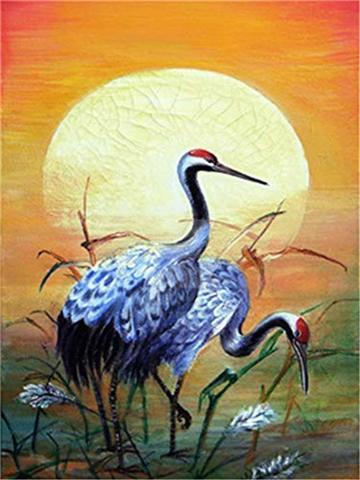 Картина раскраска по номерам 30x40 Птицы на фоне уходящего солнца