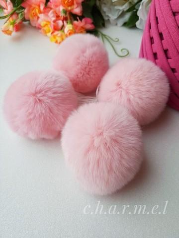 Помпон из натурального меха, Кролик, 5-6 см, цвет Розовый, 2 штуки